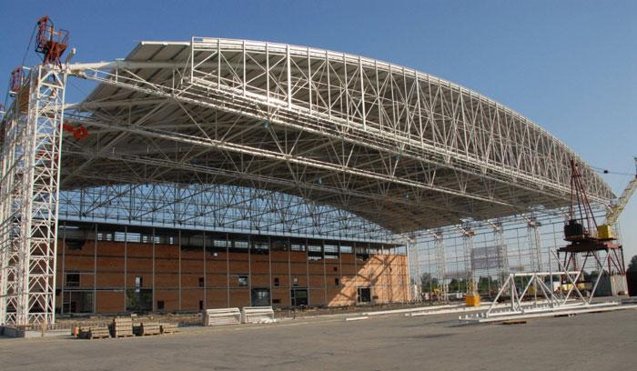 Nosná ocelová konstrukce hangáru Mošnov