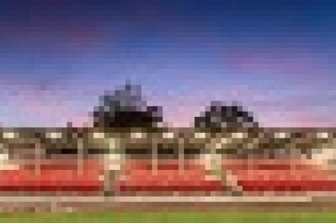 Objekt tribuny v areálu atletického stadionu na Sokolském ostrově
